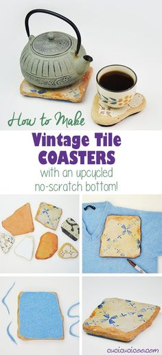Protect your furniture from scratches and water stains with these incredibly fast and easy DIY vintage tile coasters with repurposed sweater felt bottoms! Rock Crafts, Fun Crafts, Diy Coasters, Vintage Tile, Teapots And Cups, Coaster Furniture, How To Make Diy, Janome, Repurposed Furniture
