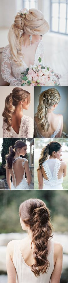 long wedding hairstyles -Chic Pony Tail