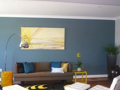 Interesting Blue And Yellow Pillows: Outstanding Eclectic Living Room Blue And Yellow Pillows Blue Walls Arc Lamp Custom Rug Yellow Accent Pillows Living Room White Chairs Grey Sofa Ottoman Planter Large Pot Brown And Blue Living Room, Teal Living Rooms, Accent Walls In Living Room, Eclectic Living Room, Living Room Paint, Living Room Designs, Living Room Decor, Blue Feature Wall Living Room, Dining Room