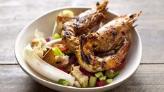 .. grilled chermoula prawns with pipirrana salad (seperate recipe).