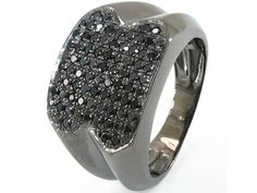 10K Black Gold Black Diamond Mens Fashion Pinky Ring