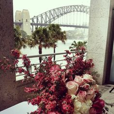 Aria Restaurant at Sydney Harbour Photo by Lillian Lyon Www.lyonheart.com.au Places To Get Married, Got Married, Sydney Wedding, How To Take Photos, Lyon, Wedding Ceremony, Backdrops, Floral Wreath, Restaurant