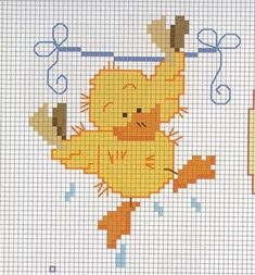 A chick as clothes hanging cross stitch pattern