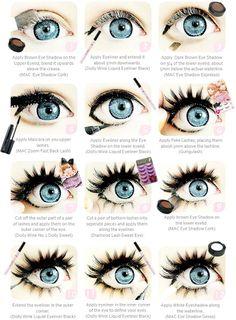 Puppe Auge, Make-up-Tutorial, Mode Make-up, große Augen, Visual Kei. Dolly Augen Make-up Related Doll Eye Makeup, Anime Eye Makeup, Gyaru Makeup, Smokey Eye Makeup, Makeup Art, Makeup Tips, Fairy Makeup, Bee Makeup, Makeup Ideas