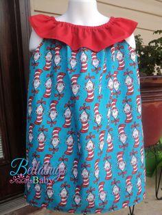Cat in the Hat Dr. Seuss Ruffle Neck Dress - Sizes 6M-4T