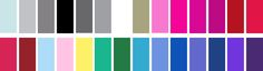 If you are a COOL WINTER, your best colours are: (L-R) Icy grey, light grey, medium grey, black, charcoal, taupe, pure white, pewter, rose pink, hot pink, fuchsia, magenta, blue red, deep rose, raspberry, burgundy, icy blue, icy pink, lemon yellow, emerald turquoise, pine, Chinese blue, medium blue, royal blue, bright periwinkle, navy, purple, plum.