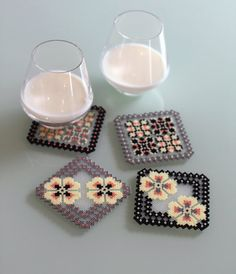 Coasters grey black pink handmade of ironed plastic beads by Leminussieu