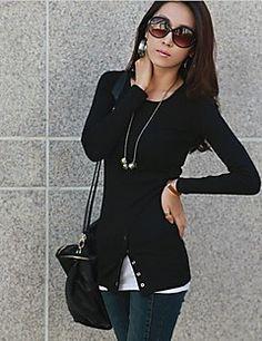 Das CoolCube Moda Mulher em torno do pescoço manga comprida Bainha Lazer Camiseta