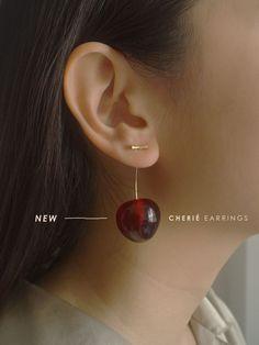 Cherié (Cherry) Earrings – Gabi The Label Cute Jewelry, Jewelry Accessories, Fashion Accessories, Jewelry Design, Fashion Jewelry, Gold Hoop Earrings, Diamond Earrings, Stud Earrings, Piercings