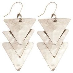 """Bring a touch of elegant appeal to evening ensembles and work outfits alike with these eye-catching earrings, featuring an overlapping triangle silhouette and silver finish.  Product: Pair of earrings Construction Material: MetalColor: SilverFeatures: Fish hook closureOverlapping triangle silhouetteDimensions: 2.75"""" Drop each"""