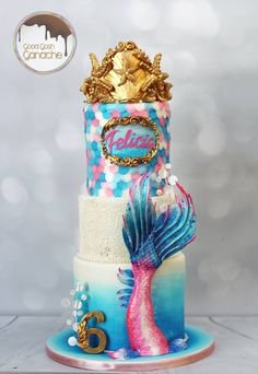 ❋ Mermaid Party Tail Cake from Good Gosh Ganache Little Mermaid Cakes, Little Mermaid Parties, The Little Mermaid, Mermaid Tail Cake, Fancy Cakes, Cute Cakes, Beautiful Cakes, Amazing Cakes, Bolo Tumblr