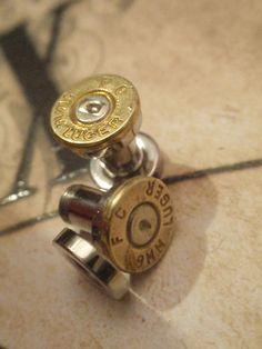 SINGLE Bullet ear plug 9mm Bullet Plug Earrings Bullet Shell u pick your gauge ... Two Tone Gold & Silver. $20.99, via Etsy.