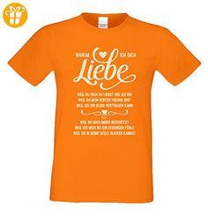 Geschenk zum Valentinstag für Ihn T-Shirt Warum ich Dich liebe Geschenkidee Geburtstag Übergröße Mode für mollige Herren Farbe: orange Gr: L - T-Shirts mit Spruch | Lustige und coole T-Shirts | Funny T-Shirts (*Partner-Link)