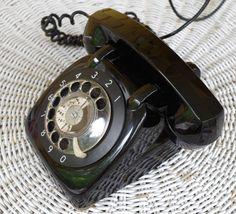 Vintage 1950s Black Rotary Desk Phone Prop by retrowarehouse on Etsy