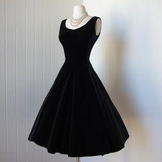 Vintage 1950s dress - Black satin and velvet full skirt cocktail party dress with bows