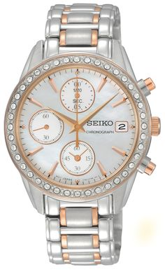 Seiko Ladies Crystal, Chronograph Watch, with swarovski crystal and rose gold finish, SNDY18  www.SeikoUSA.com
