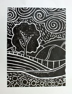 lino print christmas - Google Search More