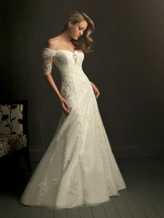 lace wedding dresses with sleeves | Short Sleeves Lace Wedding Dress,Short Sleeves Lace Wedding Dress ... I normally hate off the shoulder but this is pretty.