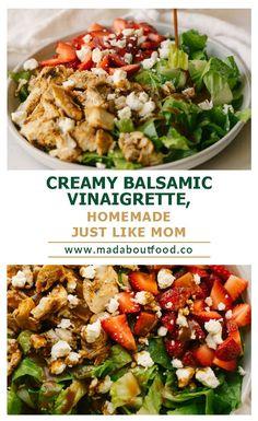 Homemade Balsamic Vinaigrette Dressing - Balsamic Vinaigrette Salad Dressing #saladdressing #dressing #balsamicvinaigrette #vinaigrette #recipe #homemade #fromscratch #easyrecipe Homemade Balsamic Dressing, Creamy Balsamic Vinaigrette, Vinaigrette Dressing, Healthy Dip Recipes, Healthy Dips, Lunch Recipes, Creamy Salad Dressing, Salad Dressing Recipes