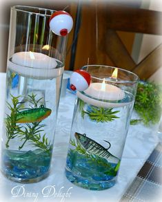 Dining Delight: Fishing Centerpiece in Cylinder Vase