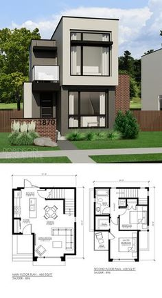 18 Small House Designs with Floor Plans - House And Decors Minimalist House Design, Tiny House Design, Modern House Design, House Floor Plan Design, Sims 4 Modern House, Sims 2 House, Narrow House Designs, Modern House Floor Plans, Sims 4 House Design