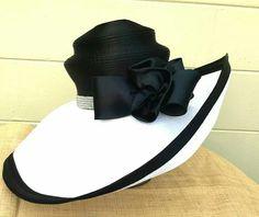 Black hat w/ black-trimmed tilted white brim ~ Harriet Rosebud Hats Fancy Hats, Cool Hats, Flapper Hat, Hat Crafts, Kentucky Derby Hats, Wearing A Hat, Church Hats, Love Hat, Girl With Hat