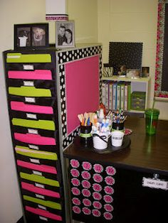 use side of filing cabinet as a pretty magnet board for teacher...use back as magnet station although I really like her file storage, too.