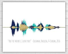 """This unique piece will forever visually capture a voice, song, or other audio moment as a truly special gift. See your recording as a sound wave, be it an """"I love you"""" or a """"thank you,"""" or even wedding vows or a heartbeat. Frame it and present it as a Mother's Day or Father's Day gift, anniversary gift, Valentine's Day gift, Christmas gift, grandparent gift, or thank you gift. The possibilities are endless! Your print features: • 8x10 sound wave print on heavy, 110 lb. card stock OR •…"""