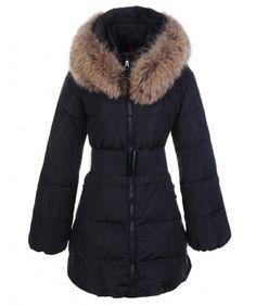 Moncler Sauvage Women Down Coat Fur Collar Long Black www.onlakemac.com