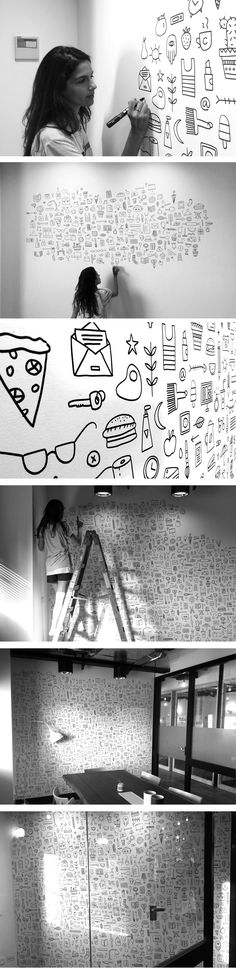Doodle wall art hand drawn illustration by PUDISH Japan Design, Illustration Inspiration, Illustration Art, Mural Art, Wall Murals, Doodle Wall, Posca Art, Deco Originale, Wall Drawing