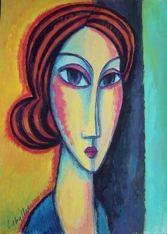 Long face by Guillermo Martí Ceballos. Gouache.