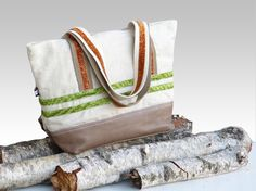 French tote bag leather and eco friendly linen  by dawnaparis, €55.00