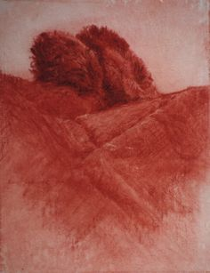 image of landscape oil pastel drawing Landscape Study II by David Ladmore