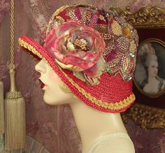 """""""SPECIAL ORDER FOR AMBER ROSE"""" BRICK RED & GOLD SEQUIN BEADED CLOCHE FLAPPER HAT #PatriciaJosephineAntiqueStyleDesign"""