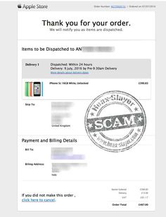 Apple Store 'Thank You For Your Order' Scam Email