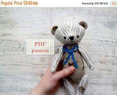 Black Friday SALE PATTERN for soft safe artist bear teddy bear, 10 inches