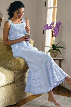 Serene Garden Gown - Floral Embroidered Nightgown, Crinkle Cotton Nightgown   Soft Surroundings