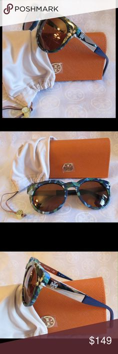 NWT Tory Burch Sunnies Ty9044  Batik Flower Garden Color 153673     Time for some new fabulous authentic designer shades!!  Super unique garden pattern  Frame Color: Batik Garden-Silver  Lens: Brown Solid   These are PERFECT Flawless NEVER even worn or tried on. It's just reflections that might make they look like there are issues, they are again Perfect!  Comes with original bag with tags from Luxottica, case and dust bag.     All of my items are Guaranteed 100% Genuine I do not sell FAKES…