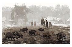 """""""1920 - Problem With Wild Boars"""" by Jakub 'Mr. Werewolf' Rozalski - Fine Art Print"""