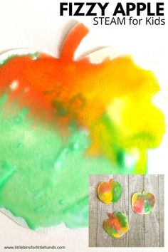 A simple and colorful kid art activity that will keep your kids busy. You can create these fizzy apples in art class at school, in day care centers or at homeschooling. A simple and fun art project that you can do with basic supplies you have at home!