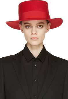 Saint Laurent Red Wide Brim Hat
