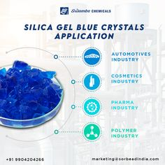 """Swambe Chemical's Silica Gel Blue Crystals is a semi-transparent glassy substance containing an indicator """"Cobalt Chloride,"""" a heavy metal salt. It is used in many industries where the indication is essential. Blue crystal converts into pink colour when it absorbs moisture completely Contact us: www.swambe.com marketing@sorbeadindia.com +91 9904204266 #swambechemicals #silicagelblue #moistureabsorber #pharmaindustry #polymerindustry #automotivesindustry #cosmeticindustry Thin Layer Chromatography, Cosmetics Industry, Chemical Industry, Silica Gel, Semi Transparent, Medicinal Plants, Blue Crystals, Heavy Metal"""