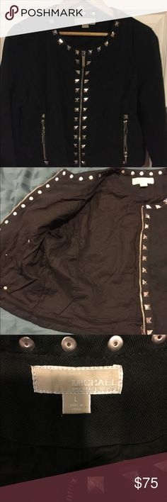 Michael kors studded black jacket My daughter wore it once. I love it wish it could fit me it's a large but runs like a medium. Nice quality quilted cotton. Silver studs. KORS Michael Kors Jackets & Coats Blazers
