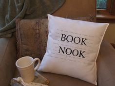 book lover graphic throw pillow cover decorative by Twirlocity, $16.99 For my big comfy chair that i'll ahve in my library one day