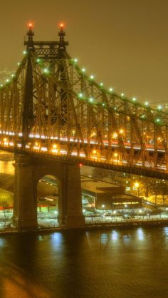 Building,  Bridge,  Night View,  United States of America,  New York City iPhone 5 wallpapers, backgrounds, 640 x 1136