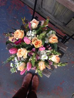 Roses and tulips. Pink Tulips, Pink Roses, Raspberry, Floral Design, Floral Wreath, Peach, Wreaths, Flowers, Door Wreaths