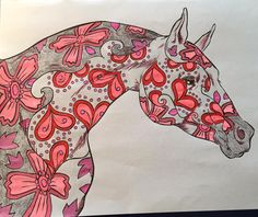 """Adult Coloring Book for Horse Lovers. This is from the Book """"The Magical World of Horses"""". Colored by Jan Olson.  Get this here http://selahworks.com/project/themagicalworldofhorsesadultcoloringbook/"""