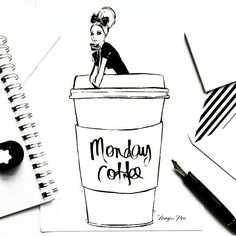 Love this Megan Hess illustration. The perfect size cup. Happy Monday Hunnies!