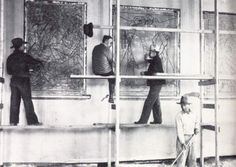 Ward Lockwood, Emil Bisttram, Bert Phillips and Victor Higgins worked on the Old Taos County Courthouse murals (on Taos Plaza) from 1933 to 1934. The old courthouse burned by fire in 1932.
