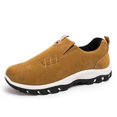 Brand: No    Shoe Type: Sneakers Toe Type:  Round Toe  Closure Type: Slip On Gender: Male Occasion:  Casual  Season: Spring,  Summer, Autumn                  Color:  Black, Gray, Blue, Khaki   Material: Upper Material:   Suede   Outsole Material: Rubber   Package included:  1*pair of shoes(without box)